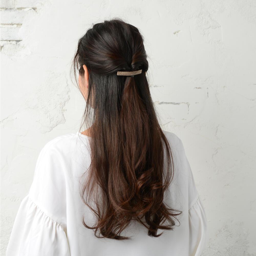 バレッタ ヘアアクセサリー レディース ヘアアクセ ベージュ スタッズ キラキラ まとめ髪 H
