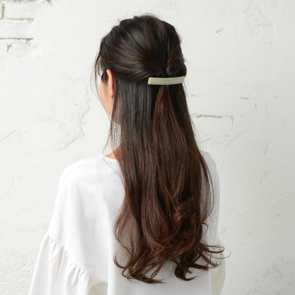 バレッタ ヘアアクセサリー レディース ヘアアクセ ボーター ベージュ 緑 ヘアアレンジ まとめ髪 H