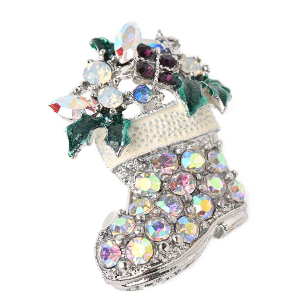 クリスマス ブローチ サンタ ブーツ プレゼント キラキラ ラインストーン オーロラ シルバー メタル B