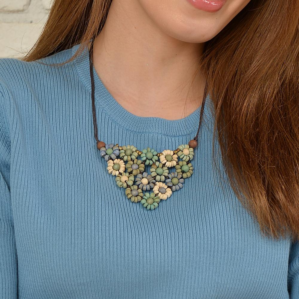 ネックレス ショートネックレス レディース ウッド フラワー 花 緑 グリーン 天然素材 N