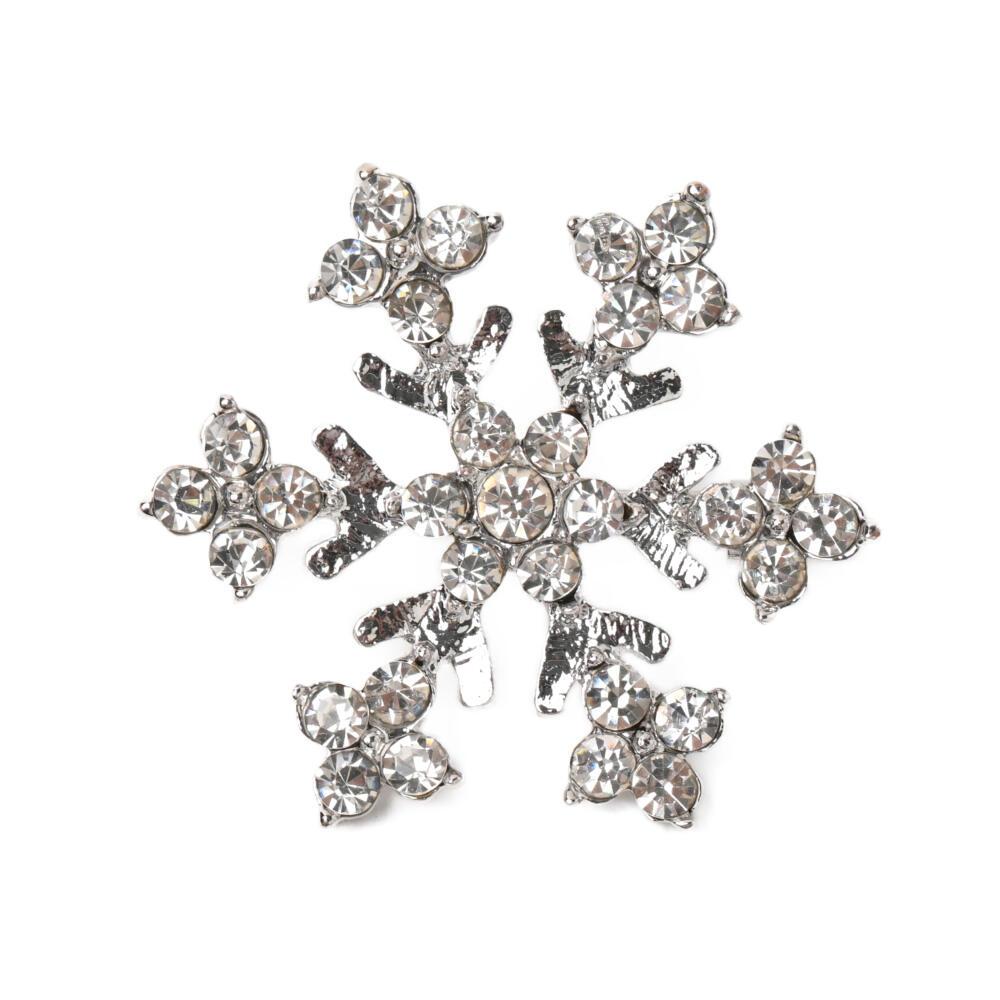 ブローチ 雪の結晶 雪 冬 クリスマス プレゼント キラキラ ラインストーン シルバー メタル B