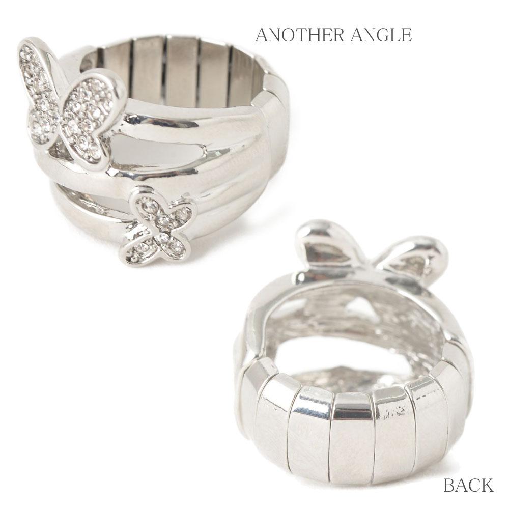 指輪 レディース フリーサイズ 蝶々 バタフライ シルバー ストレッチリング N