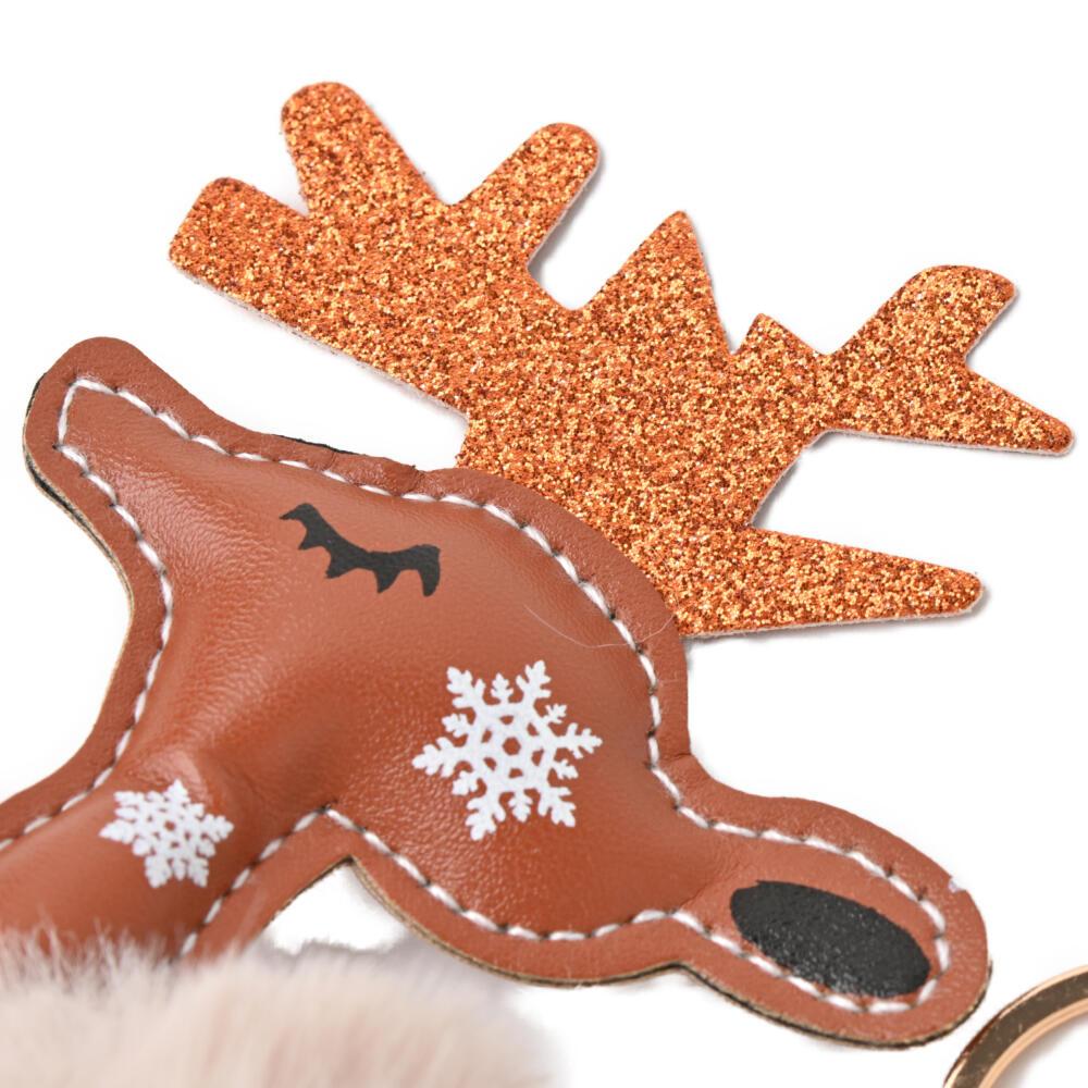 キーホルダー バッグチャーム クリスマス トナカイ ファー レディース 雪の結晶 雪 冬 プレゼント Z