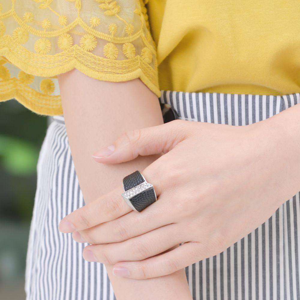 指輪 レディース フリーサイズ メタル レザー シルバー 艶消し ストレッチリング N