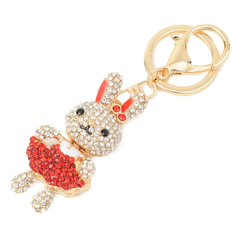 キーホルダー バッグチャーム うさぎ ウサギ 兎 キラキラ ラインストーン ゴールド プレゼント Z