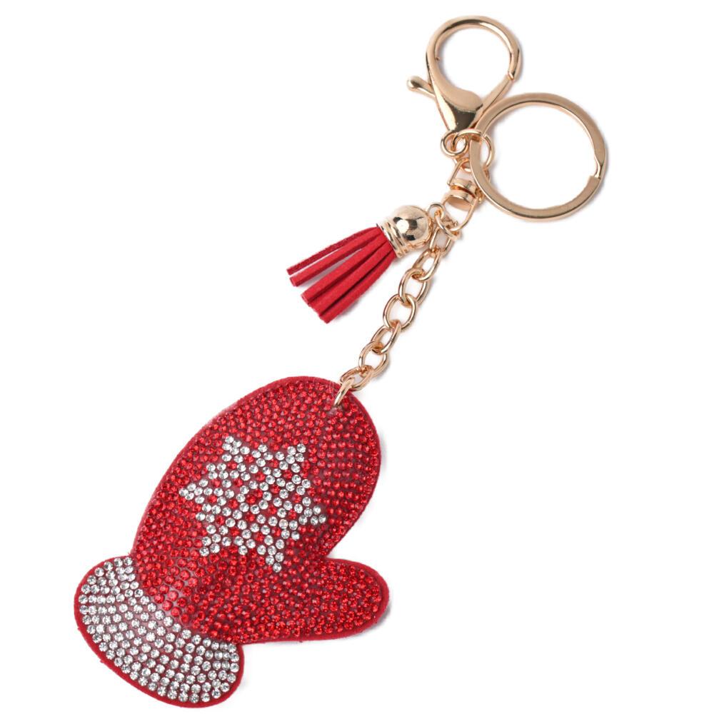 キーホルダー バッグチャーム クリスマス レディース 手袋 ミトン サンタ 冬 プレゼント Z