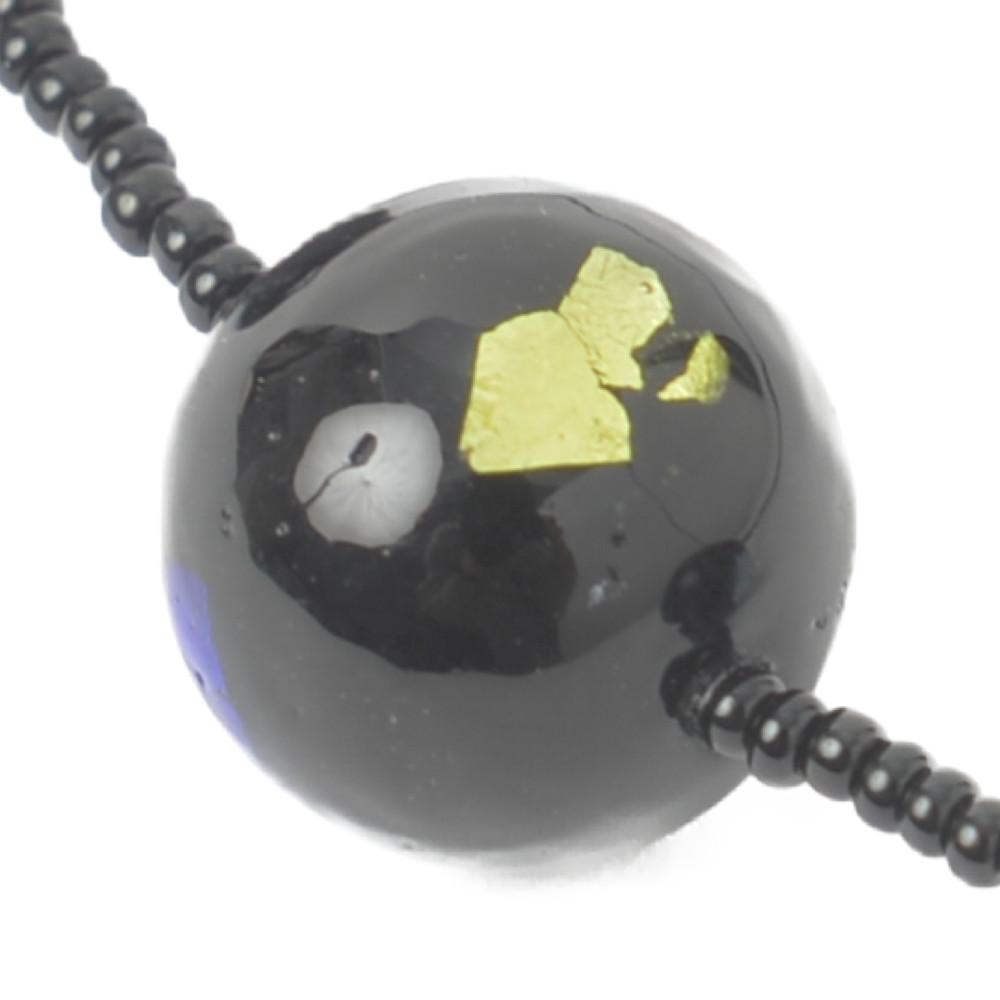 ベネチアングラスネックレス ベネチアンガラス ネックレス 黒 イタリア製 ムラーノガラス ステーション I