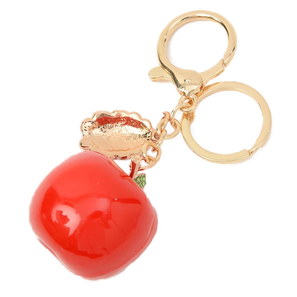 キーホルダー バッグチャーム 林檎 りんご リンゴ 果物 キラキラ ラインストーン プレゼント Z