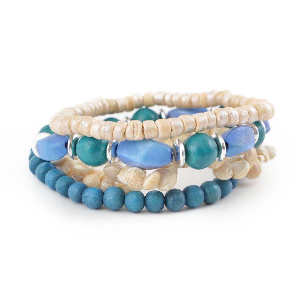 天然素材 ブルーウッドと貝殻の多連ブレスレット N