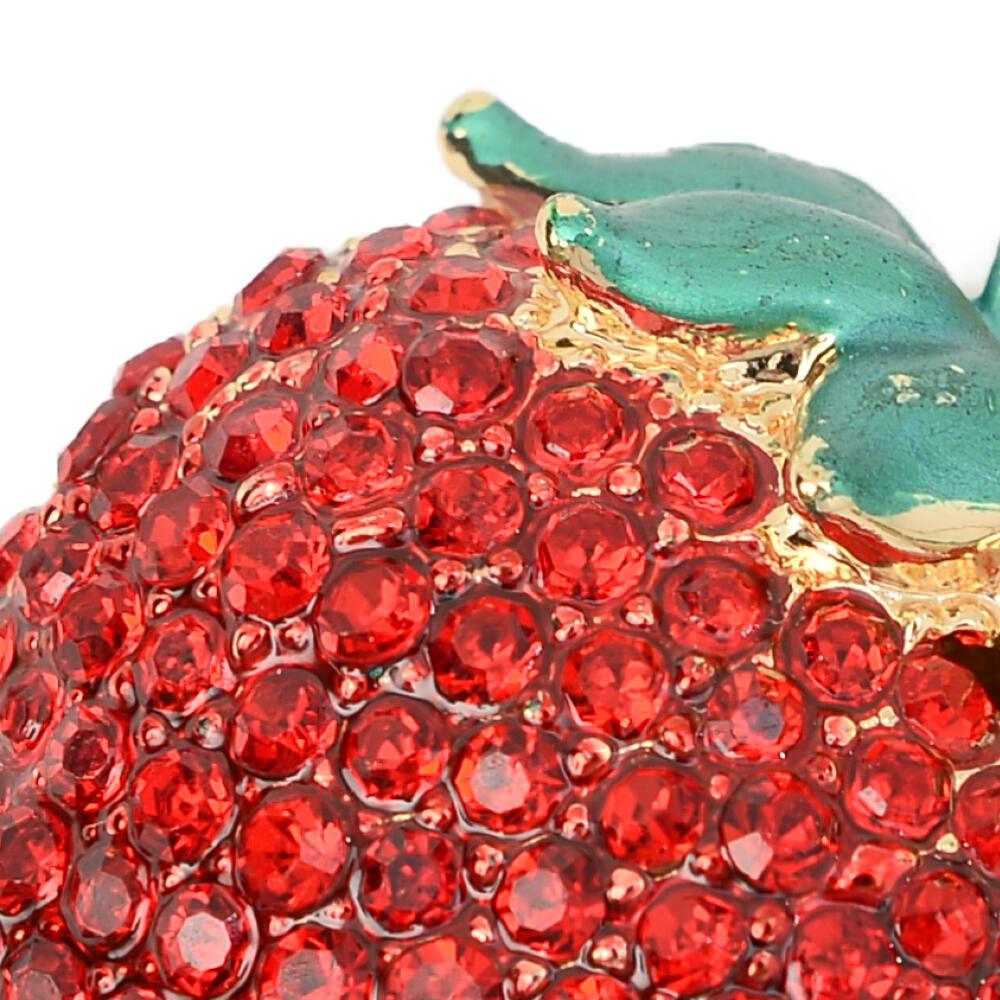 キーホルダー バッグチャーム イチゴ 苺 いちご 果物 キラキラ ラインストーン プレゼント Z