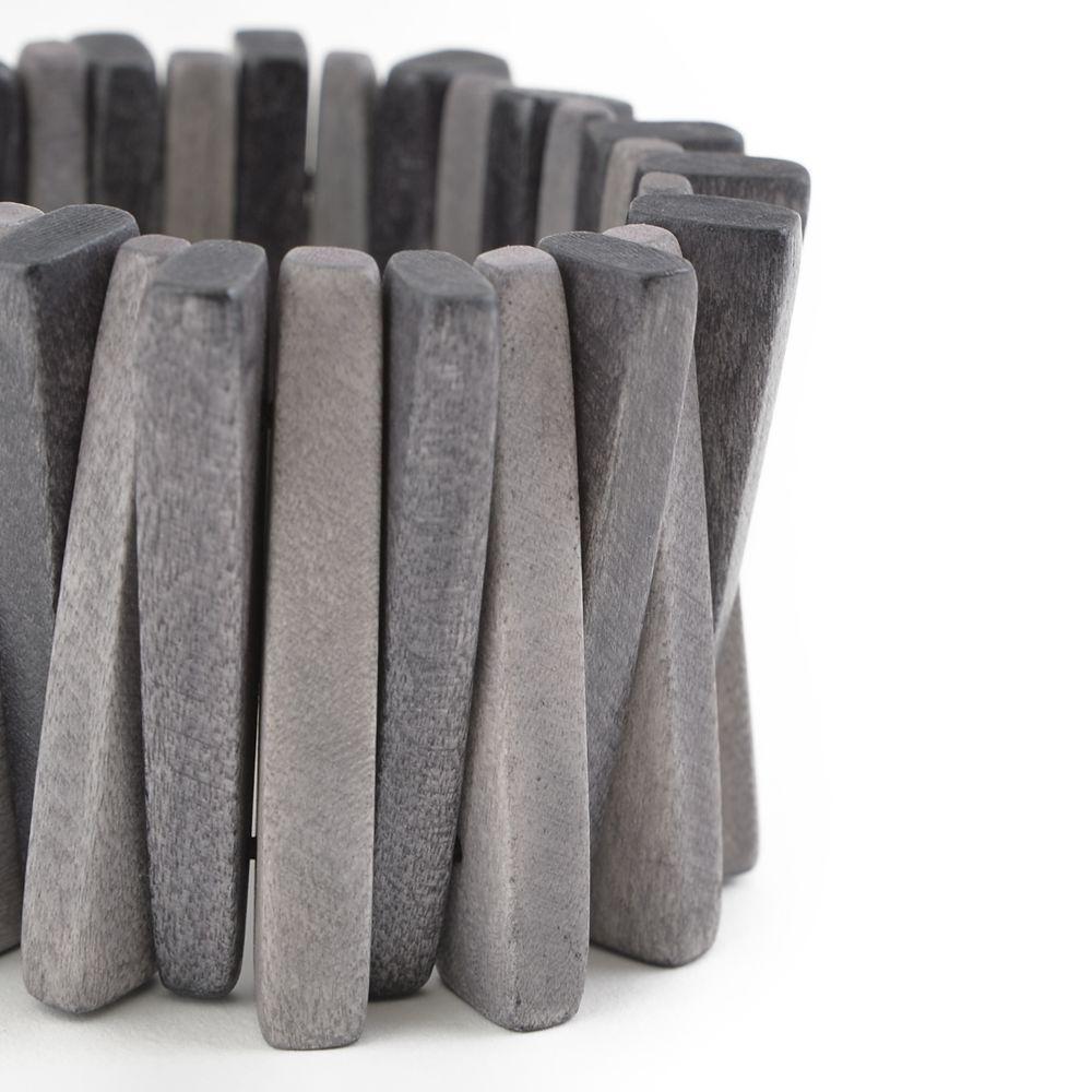 天然素材 グレーグラデーションのウッドブレスレット N