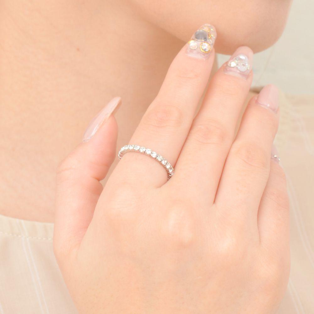 指輪 レディース リング コイル巻き パヴェ キラキラ ラインストーン シルバー フリーサイズ N