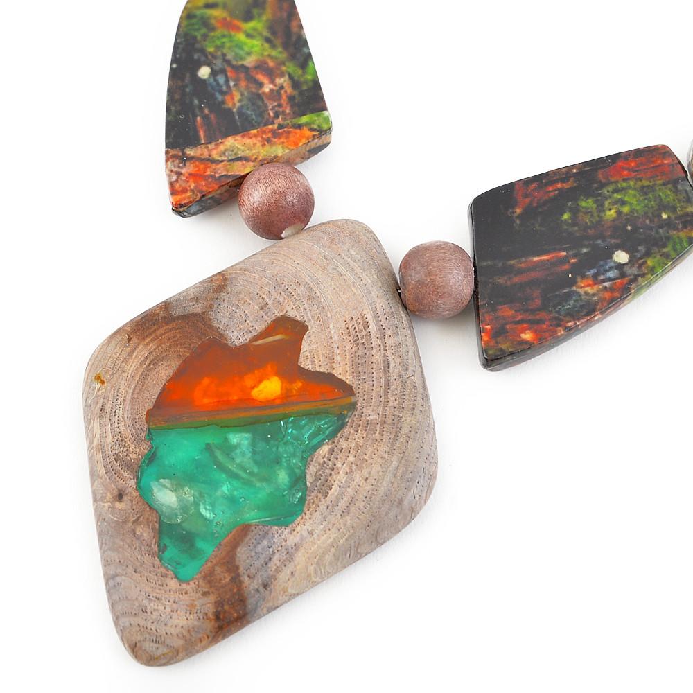 天然素材 グリーン箔とウッドのペンダントネックレス N