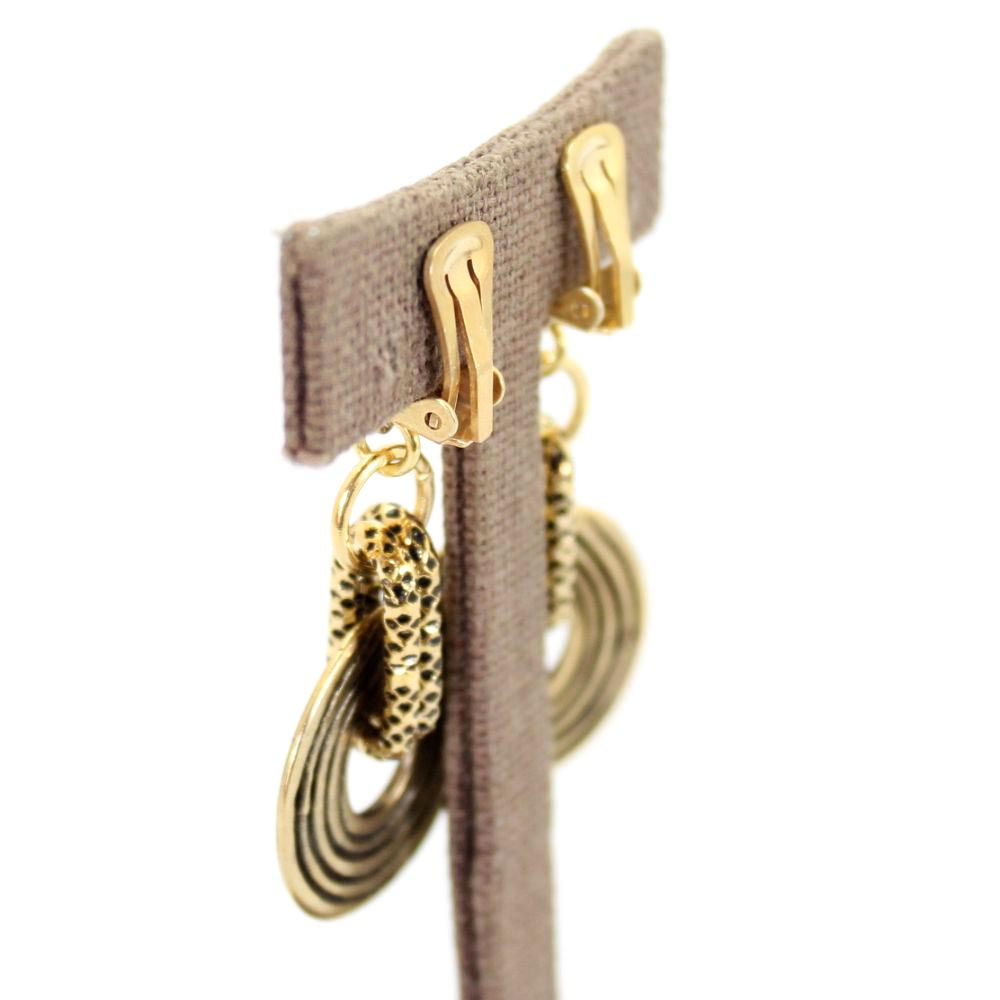 イタリア 渦巻きメタルのドロップイヤリング 2色