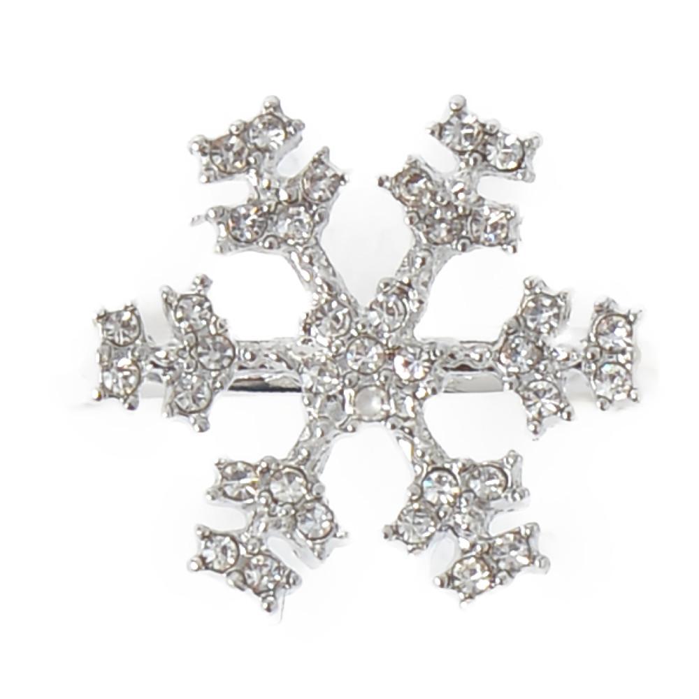 指輪 レディース リング 雪の結晶 雪 冬 キラキラ メタル シルバー フリーサイズ N