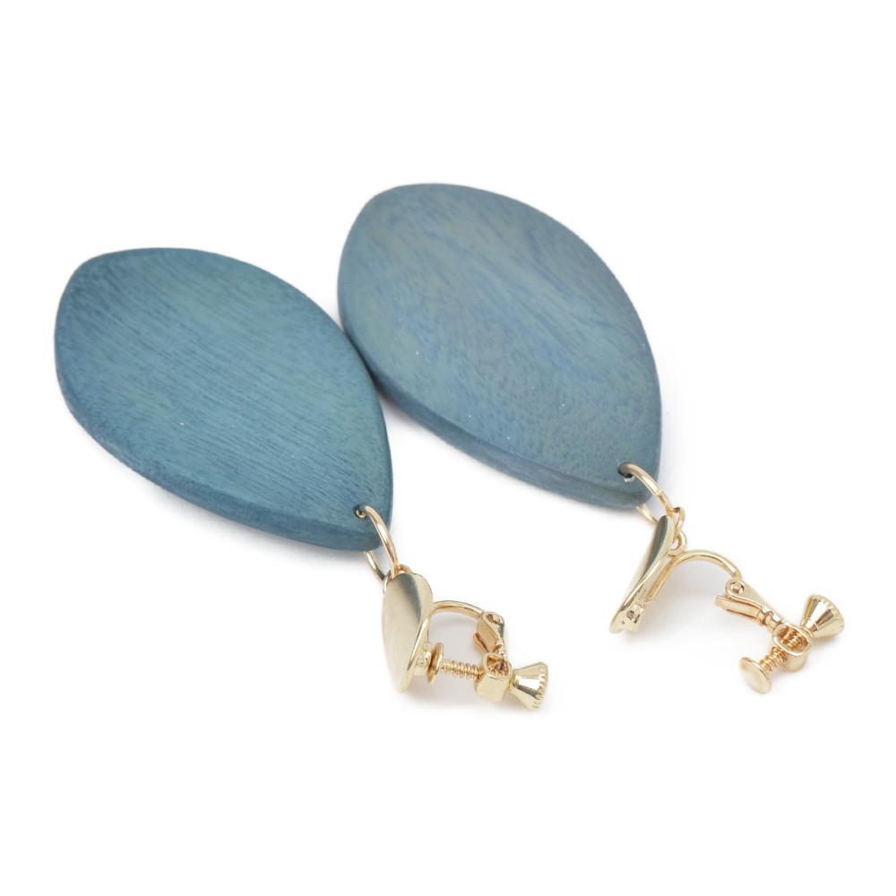 イヤリング レディース ウッド 木 天然素材 青 ブルー くすみカラー 大ぶり 揺れる E