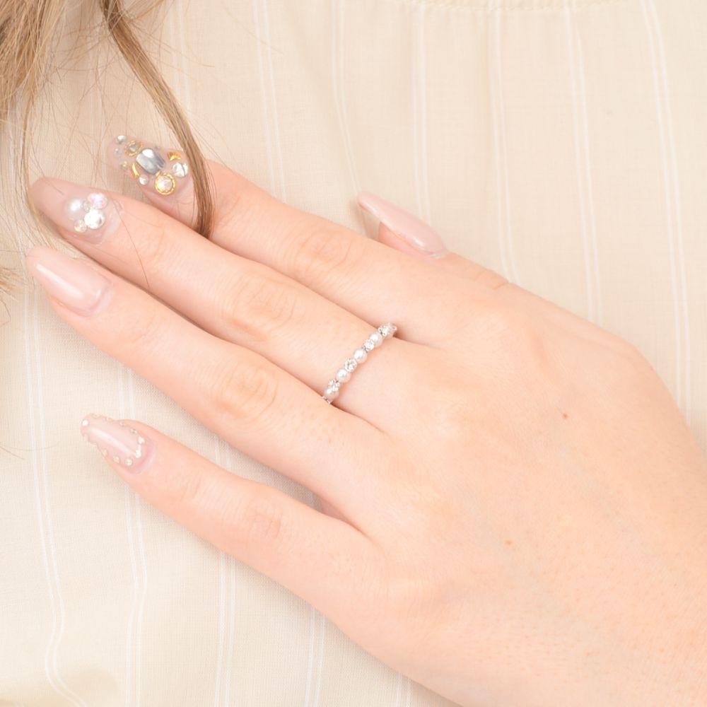 指輪 レディース リング パール キラキラ ラインストーン シルバー フリーサイズ N