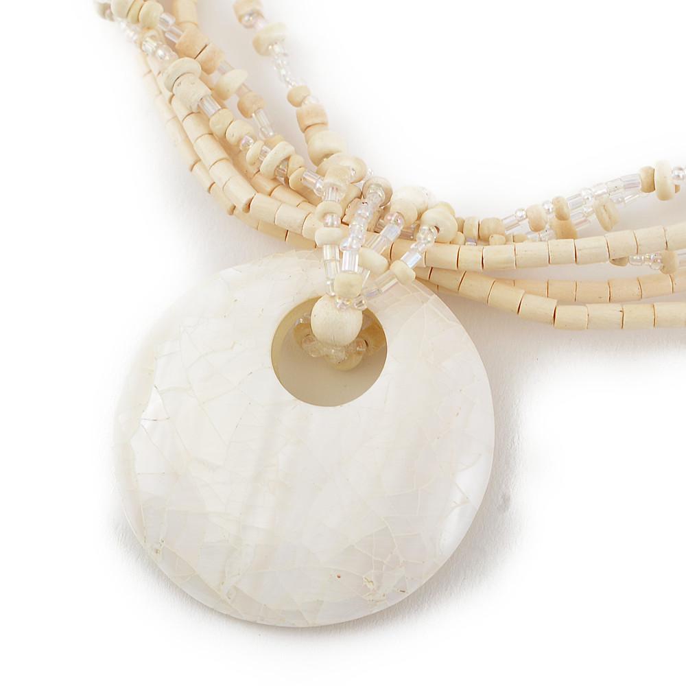 天然素材 モザイクシェルのホワイトネックレス N