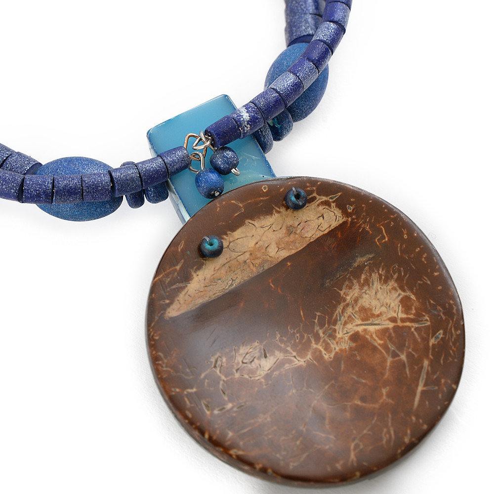 天然素材 ブルーシェルトップのチョーカーネックレス N