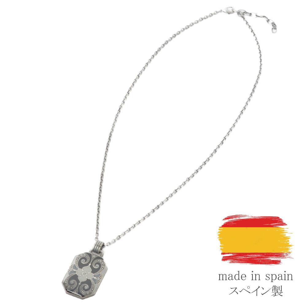 ネックレス ペンダントネックレス スペイン製 レディース フラワー 花 白 黒 古美色 クララビジュ I