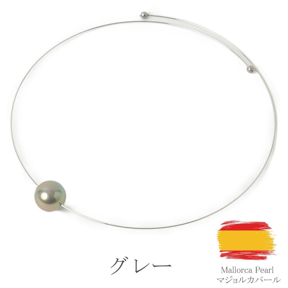 【SALE】マジョリカパール マジョルカパール ネックレス チョーカー 白 グレー メタル スペイン製 スペイン I