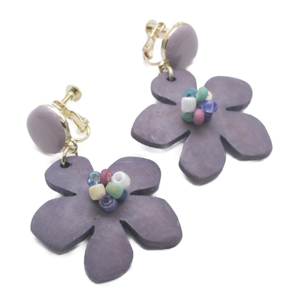 イヤリング ロングイヤリング レディース ウッド 木 天然素材 フラワー 花 紫 くすみカラー E