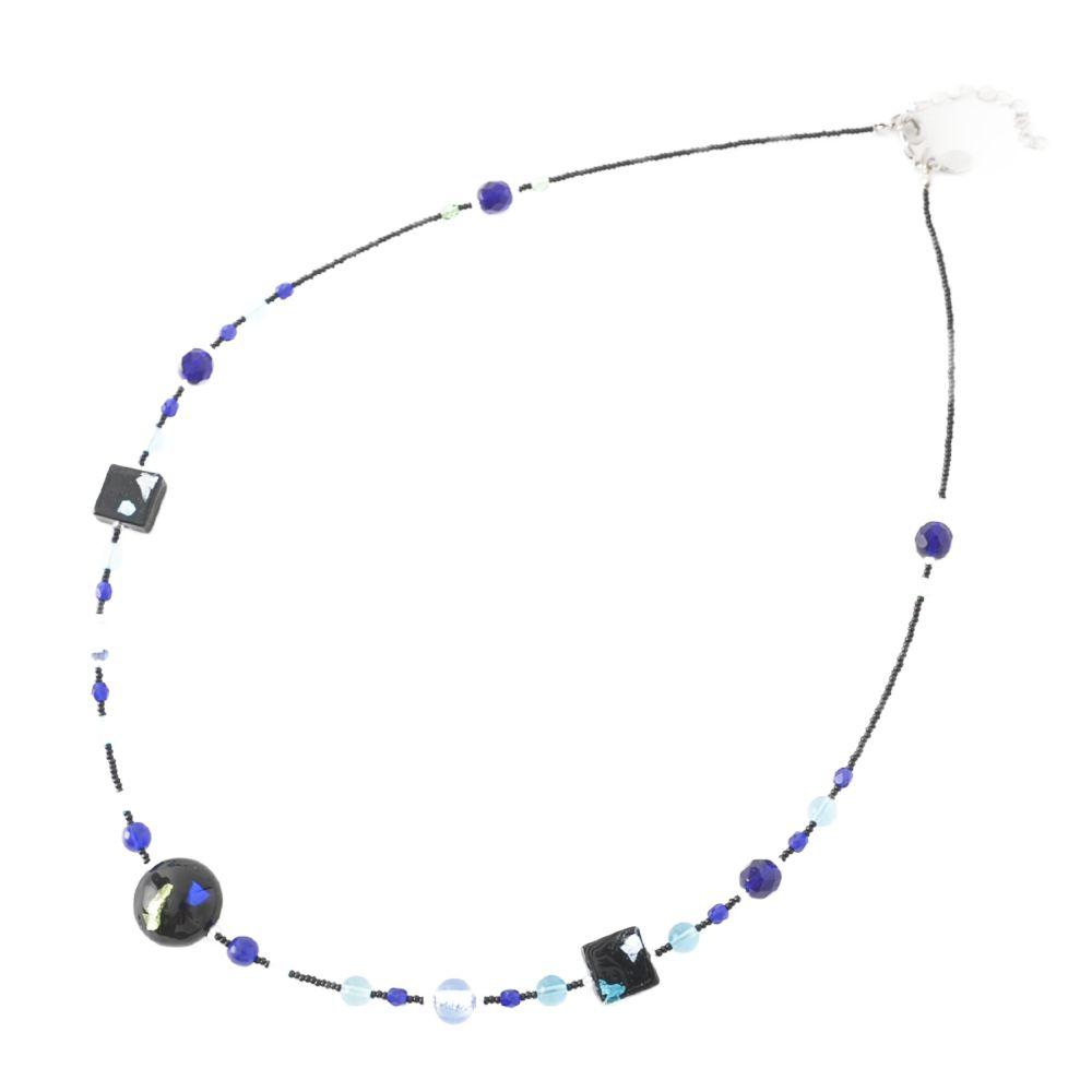 ベネチアングラスネックレス ベネチアンガラス 青 黒 イタリア製 イタリー 丸型 ムラーノガラス 箔入り