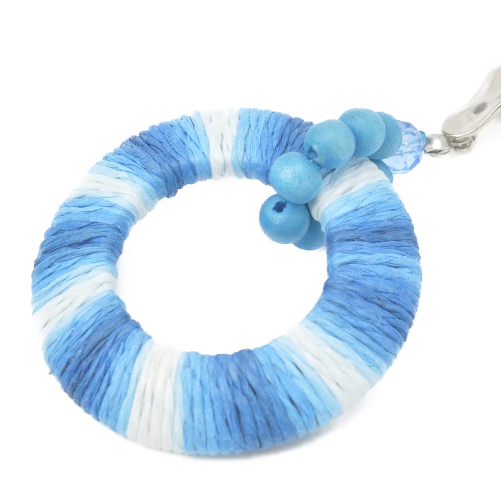 ネックレス 金属アレルギー レディース ウッド 木 天然素材 ボーダー 水色 青 エスニック N