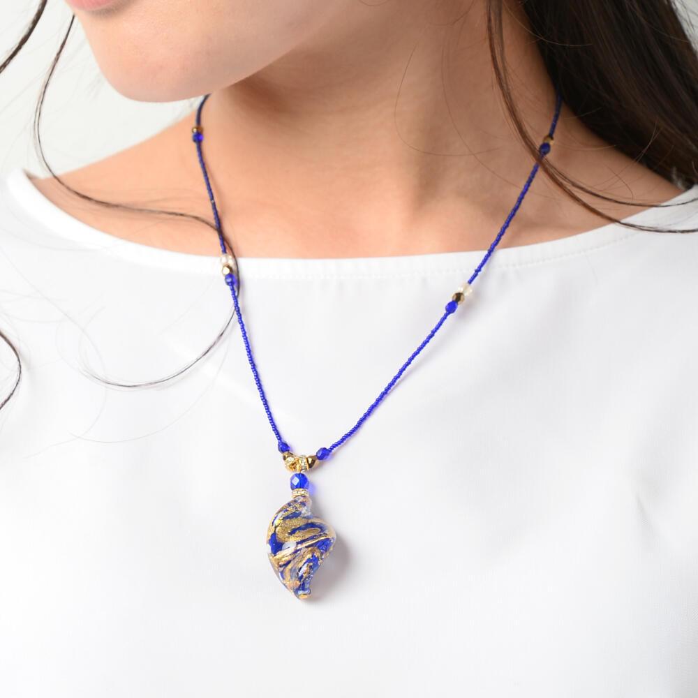 ベネチアングラスネックレス ベネチアンガラス ネックレス イタリア製 ムラーノガラス 金箔 青 ツイストI
