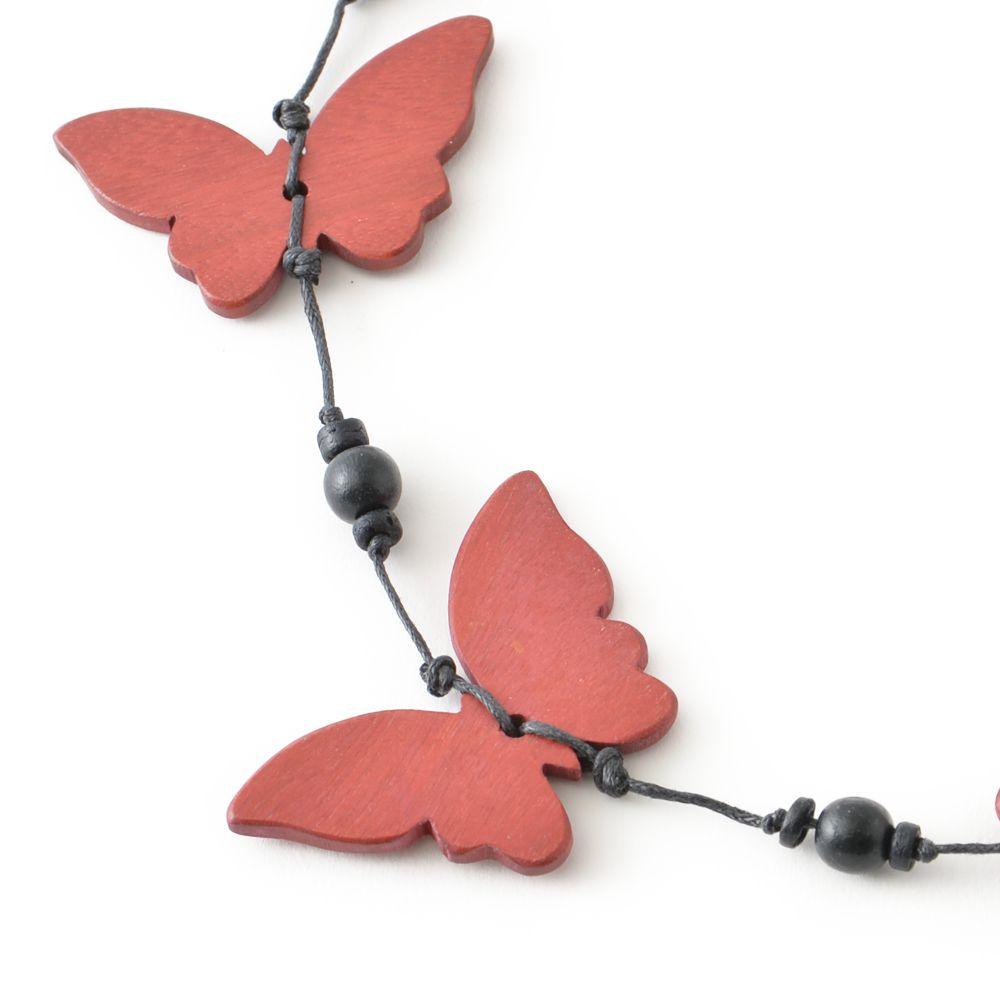 天然素材 蝶モチーフのレッドウッドネックレス N