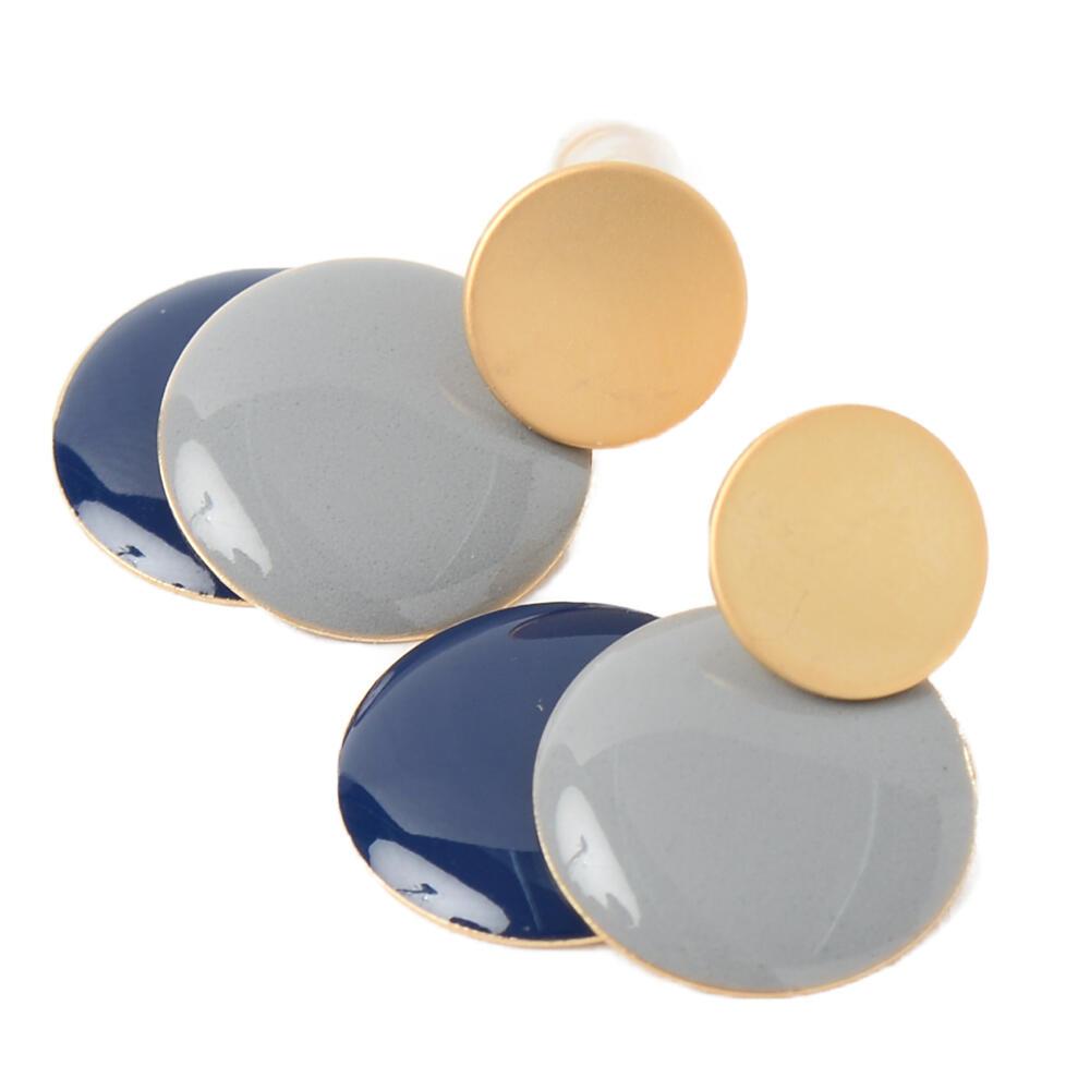 ピアス レディース バイカラー 青 ブラウン 塗り 樹脂 艶消し メタル ゴールド お洒落 PI