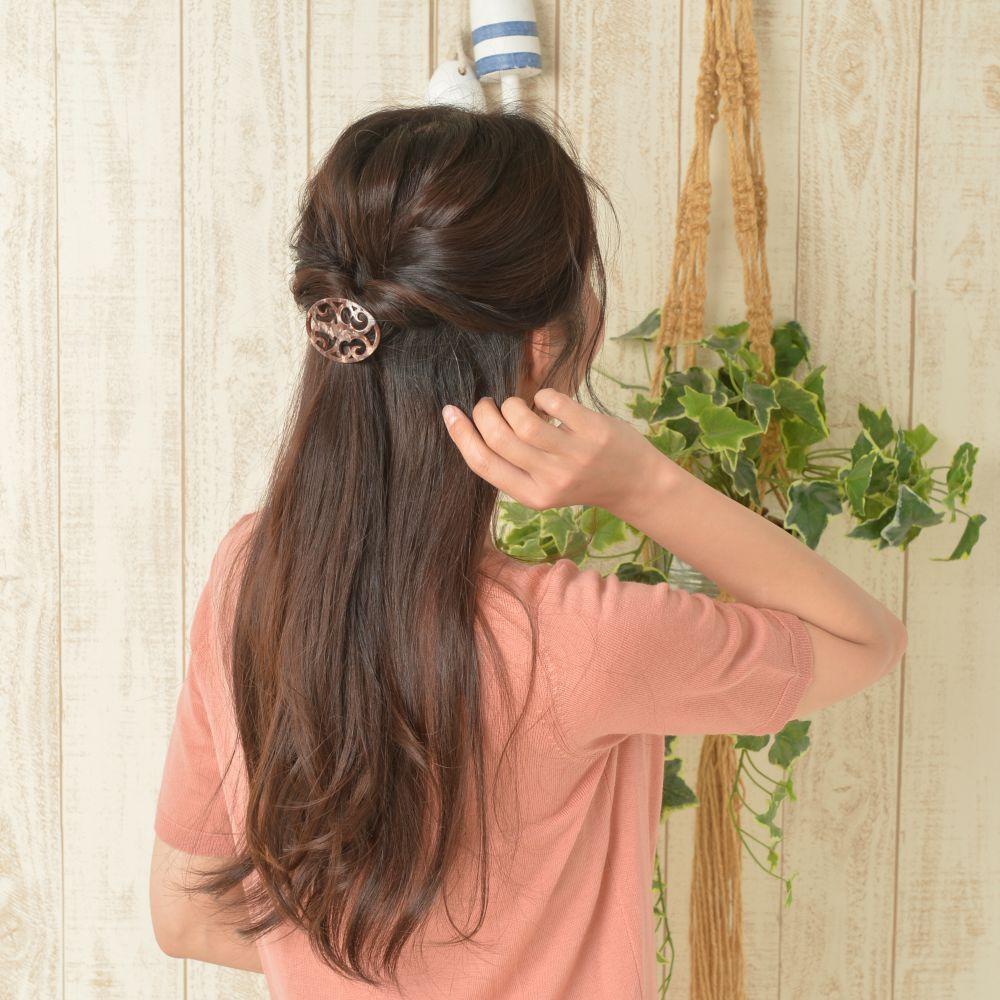 ヘアゴム ヘアアクセサリー ヘアアクセ まとめ髪 ヘアアレンジ マーブル ブラウン 透かし H