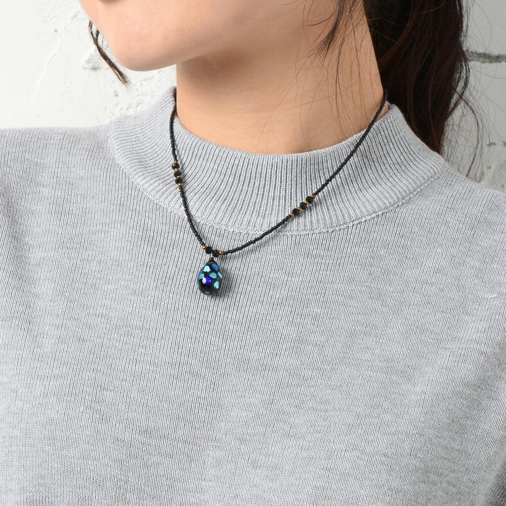 日本製 ネックレス ペンダント レディース ホタルガラス ドロップ 雫 カジュアル 磁石 マグネット N