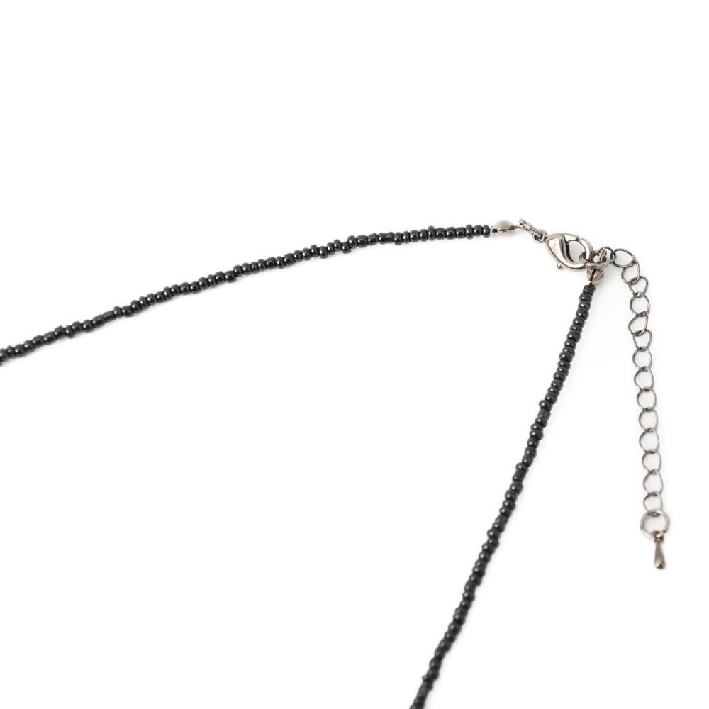 日本製 ネックレス ロングネックレス レディース ホタルガラス 黒 ビーズ キラキラ カジュアル N