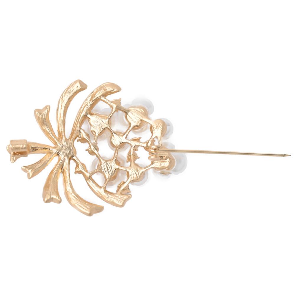 ブローチ レディース パール キラキラ メタル ゴールド 艶消し 花 フラワー 花束 可愛い プレゼント B