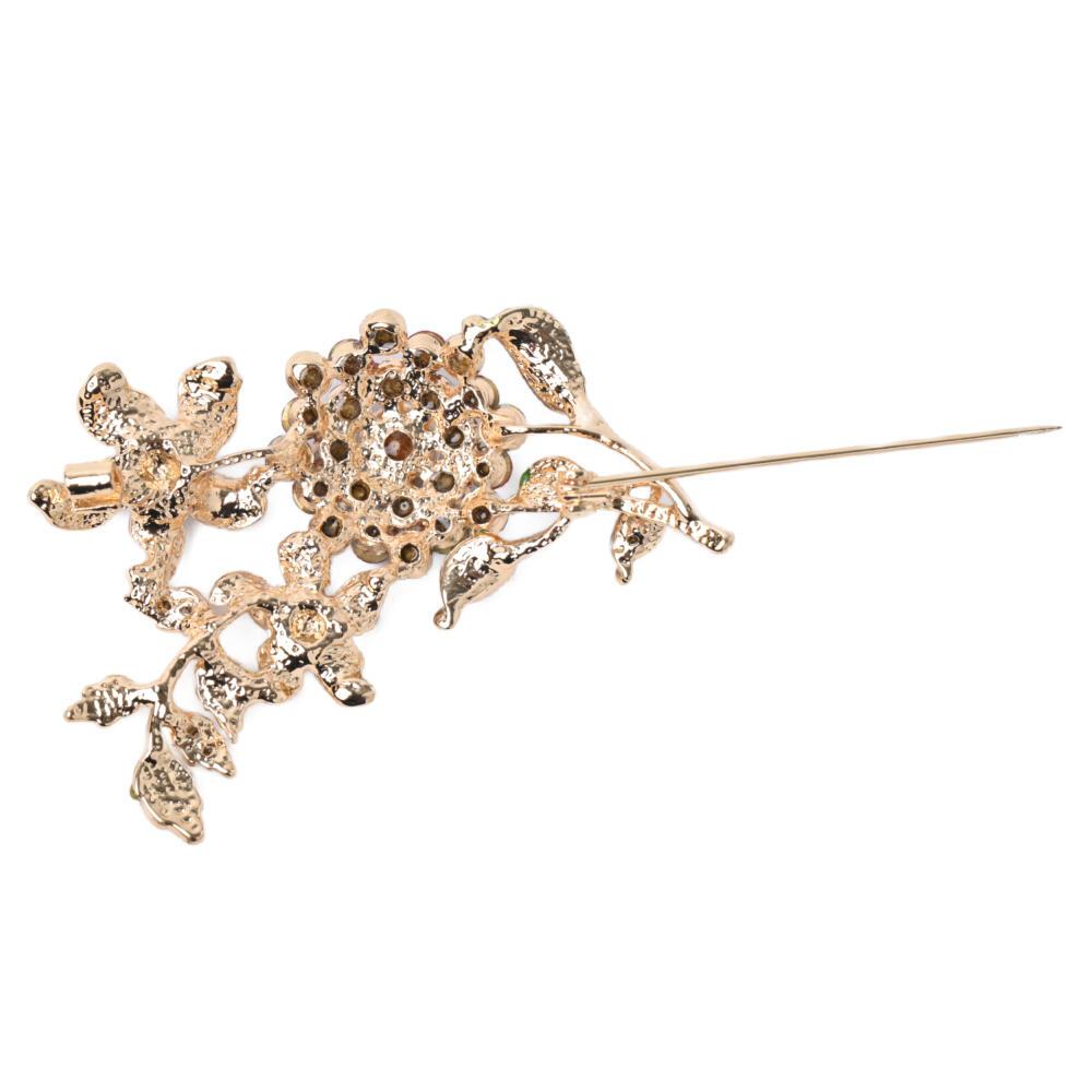 ブローチ レディース 花 フラワー 葉っぱ キラキラ メタル ゴールド カラフル 可愛い プレゼント B