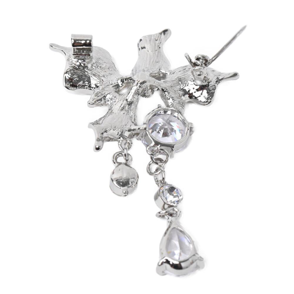 キュービックジルコニア ブローチ 揺れる キラキラ シルバー メタル 高見え 豪華 プレゼント B