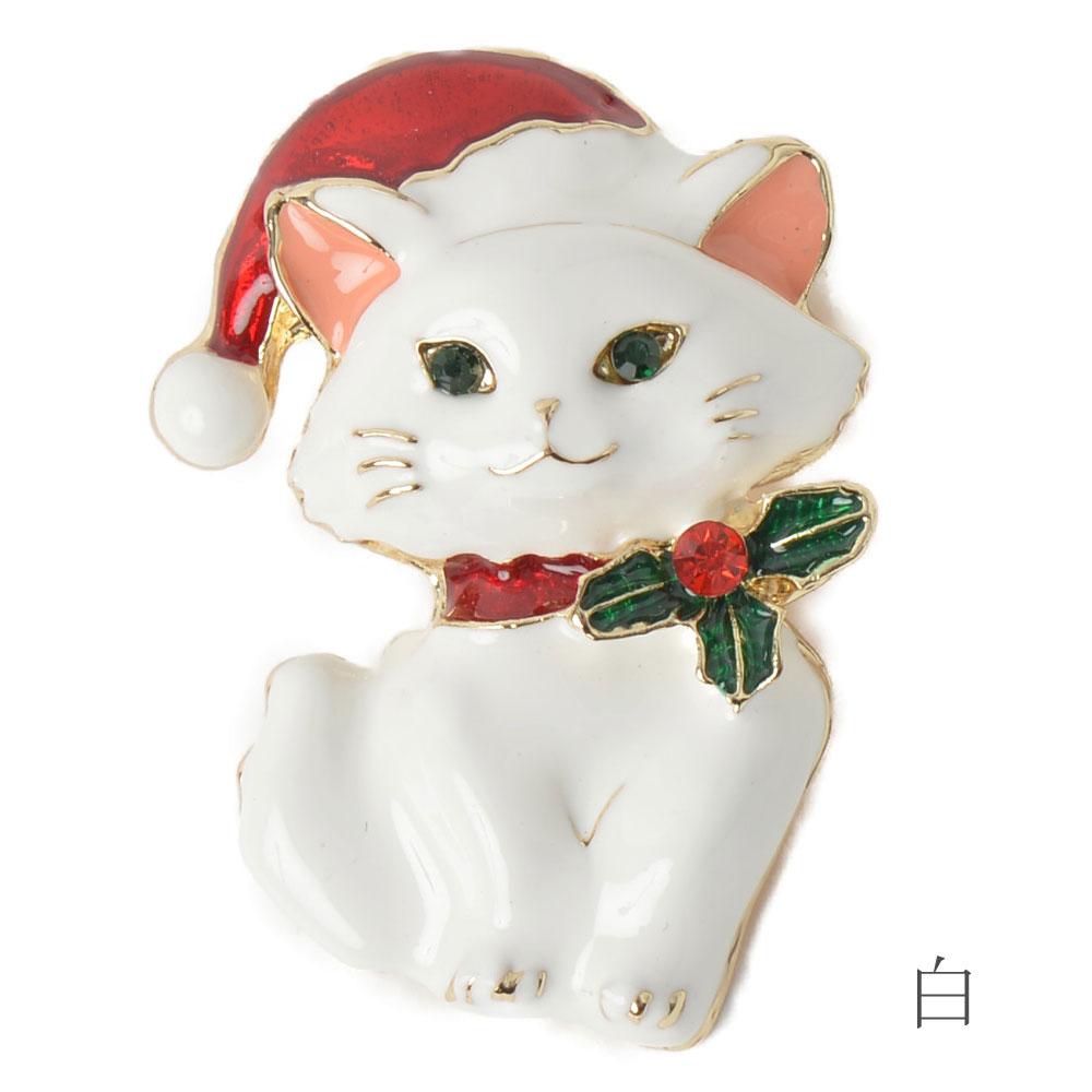クリスマス ブローチ 猫 ねこ ネコ 白猫 黒猫 猫雑貨 猫モチーフ サンタ帽子 レディース プレゼント B