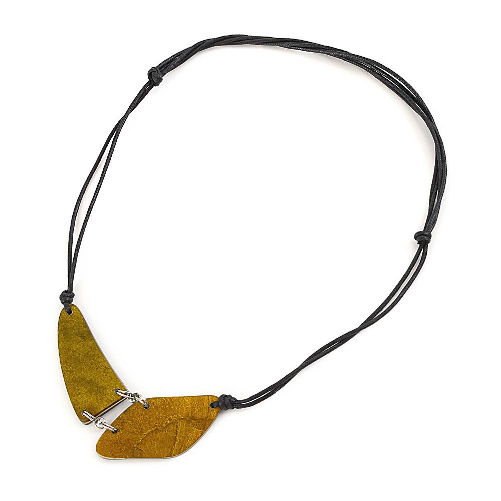 天然素材 オリーブカラーのシェルデザインネックレス N