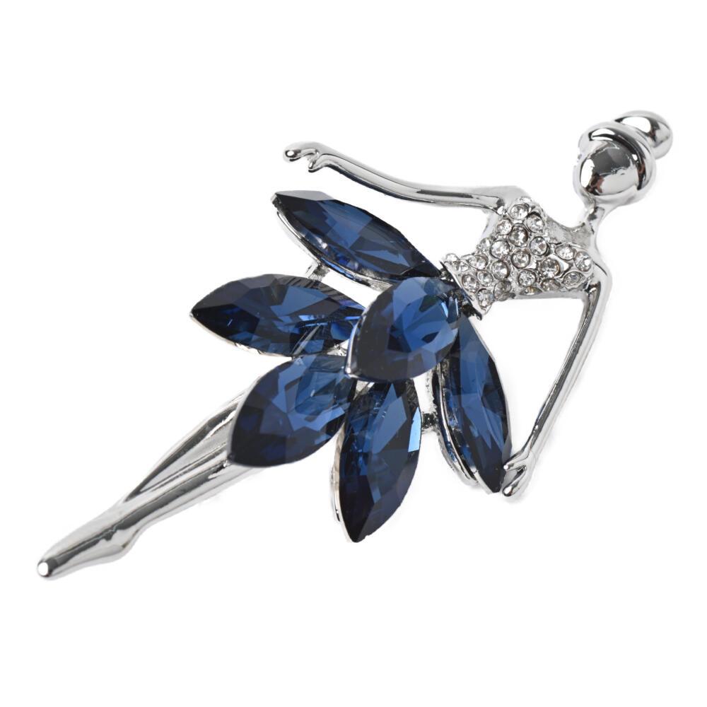ブローチ バレリーナ 踊り子 女の子 ビジュー キラキラ ロイヤルブルー 青 シルバー プレゼント B