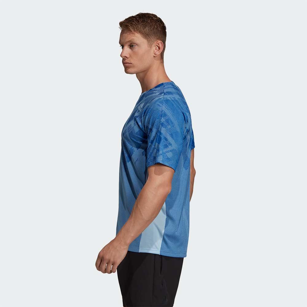 カラーブロック シャツ グローブルー