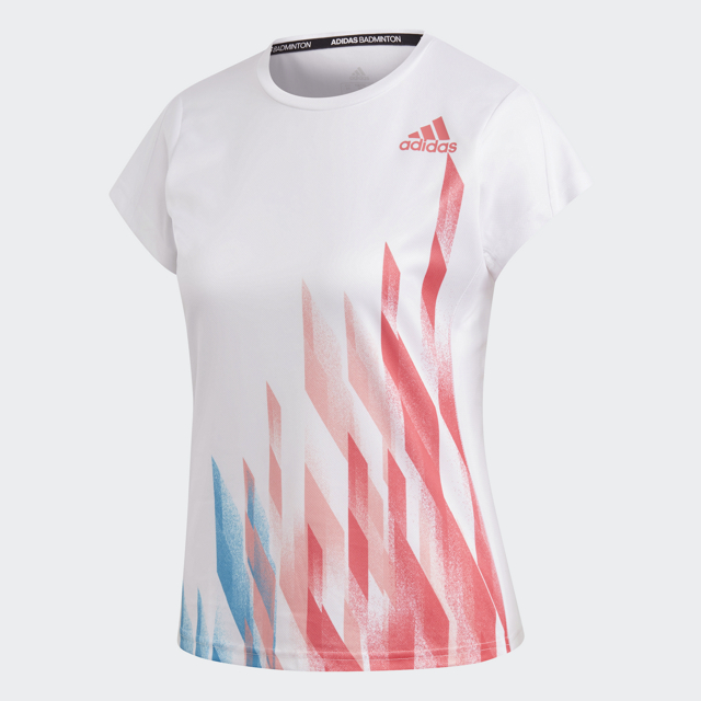 グラフィックシャツ1 レディース ホワイト アディダス バドミントン