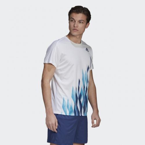 グラフィックシャツ1 ホワイト アディダス バドミントン