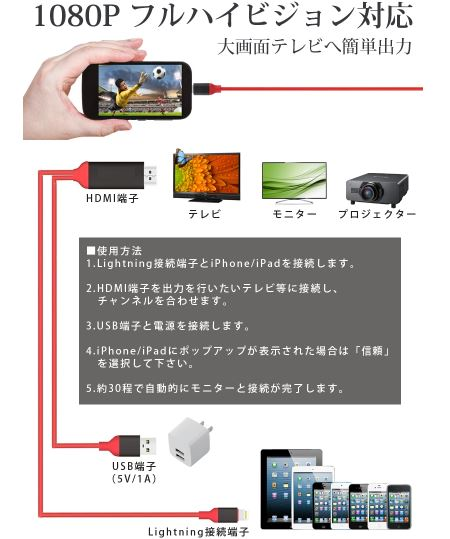 簡単接続できます!!iPhone Ligheningケーブル HDMIケーブルが登場!!変換ケーブル USBケーブル/つなぐだけでスマホ画面を「大画面」で観れる★