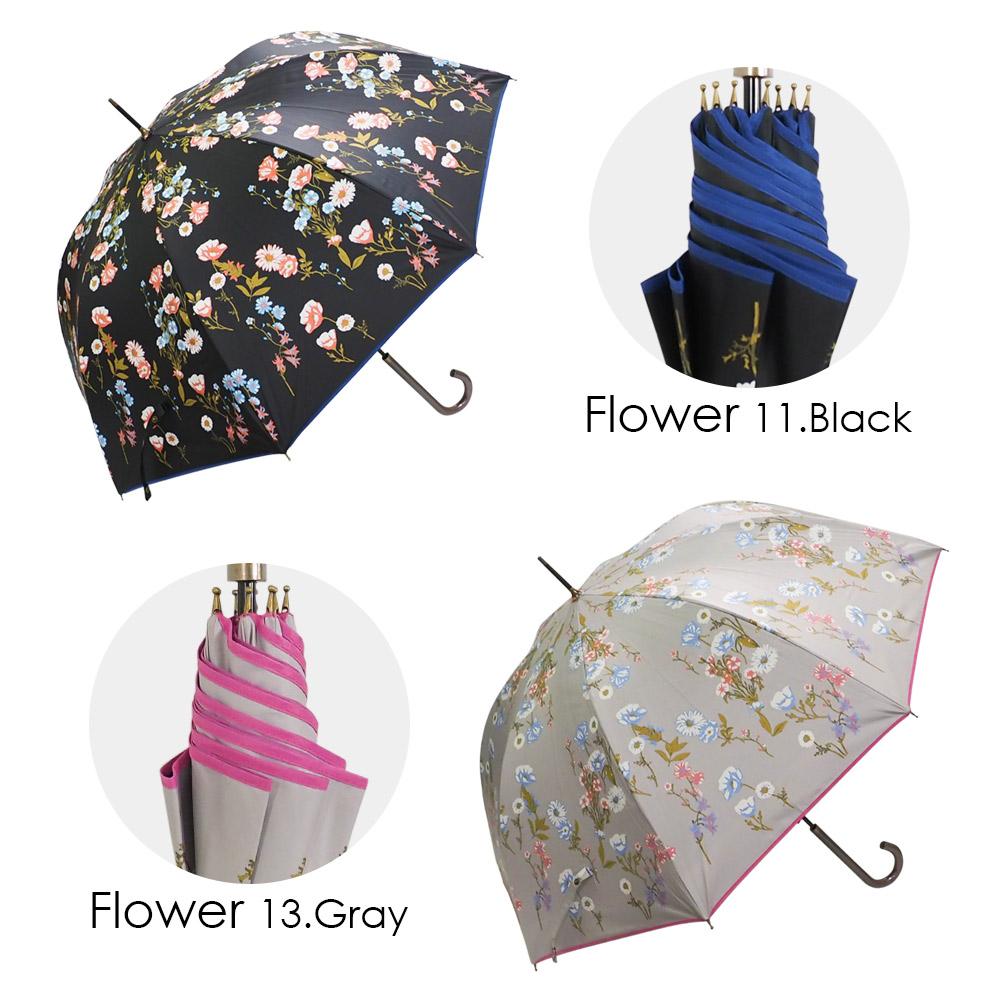 100%完全遮光 日傘/雨傘/晴雨兼用傘 超撥水 ブラックコーティング晴雨兼用ジャンプ傘A レース柄/バロック柄/カラフル小花柄