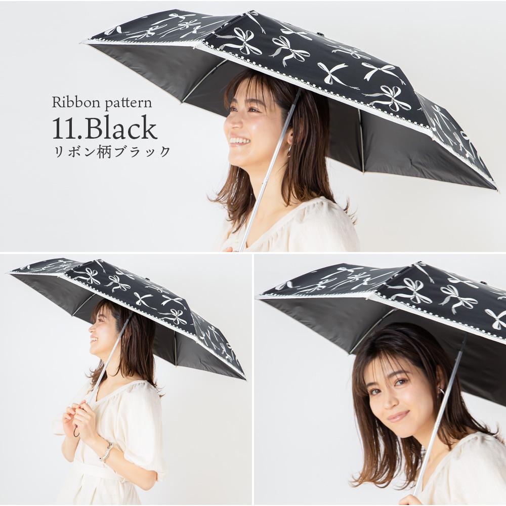 【モノクロームシリーズ】晴雨兼用 半遮光 日傘/雨傘/晴雨兼用傘 折りたたみ傘 ネコ柄/カメリア柄/バラ柄