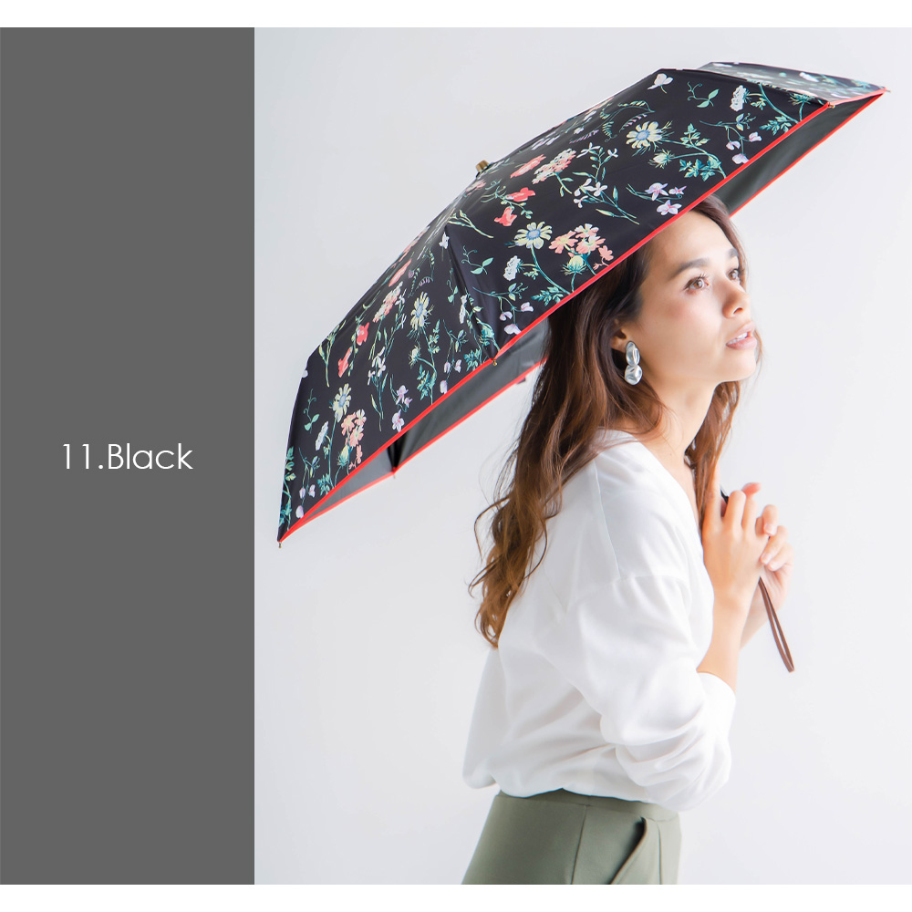 100%完全遮光 日傘/雨傘/晴雨兼用傘 超撥水 ブラックコーティング晴雨兼用折りたたみ傘E ボタニカル柄(花柄)