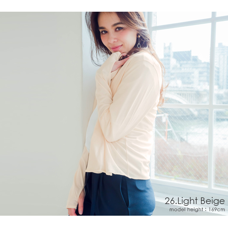 日本製 綿100% UVケア指穴カーディガン 接触冷感/UVカット/紫外線対策