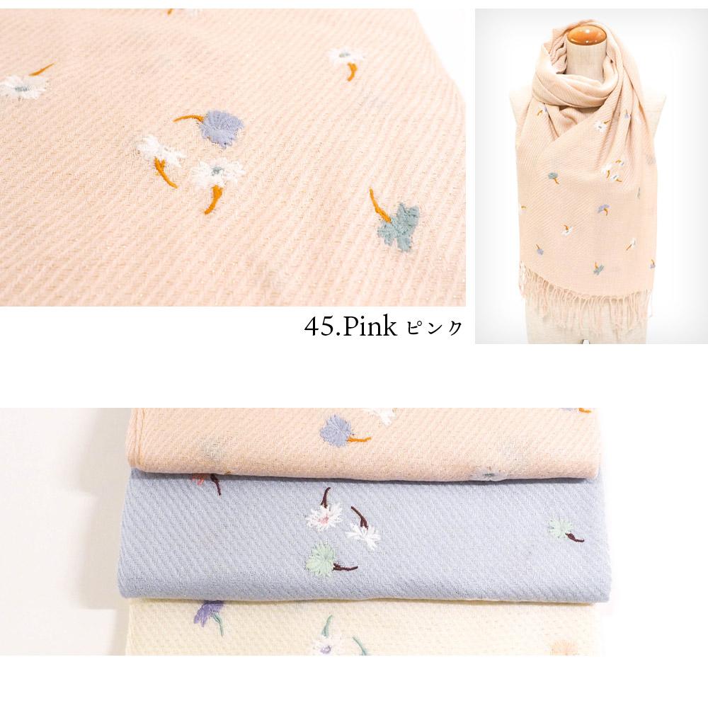 小花刺繍ラメ入ソフトストール