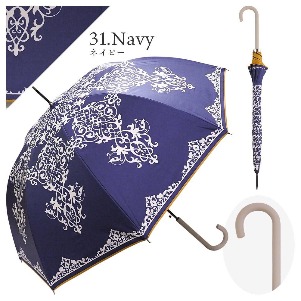 100%完全遮光 日傘/雨傘/晴雨兼用傘 ブラックコーティング ジャンプ傘 アラベスク柄
